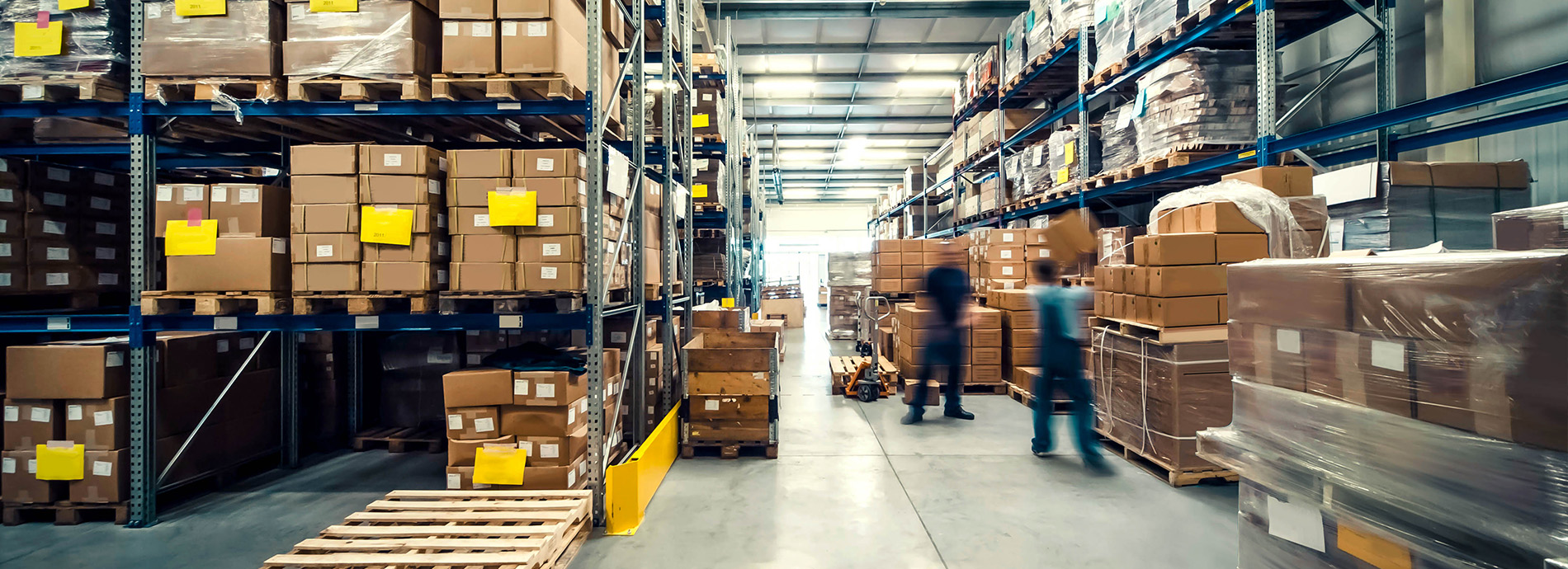Logistics warehouse with parcels